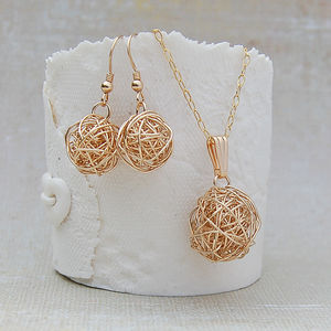 14ct Gold Filled Bird's Nest Necklace And Earrings