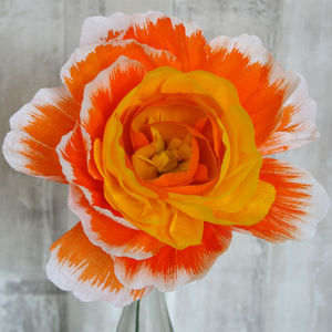 Large Orange Paper Peony - artificial flowers