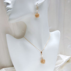 14ct Gold Filled Nest And Pearl Necklace And Earrings - jewellery sets