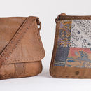 Batik Lined Stitched Detail Leather Messenger Bag