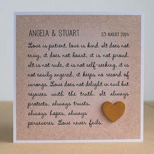 Love Never Fails, Personalised Corinthians Wedding Card