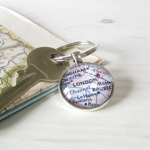 Personalised Location Map Keyring - anniversary gifts