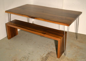 Walnut Dining Table Matching Waterfall Bench - furniture