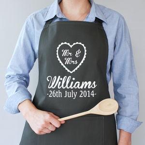 Personalised Mr And Mrs Wedding Apron - kitchen accessories