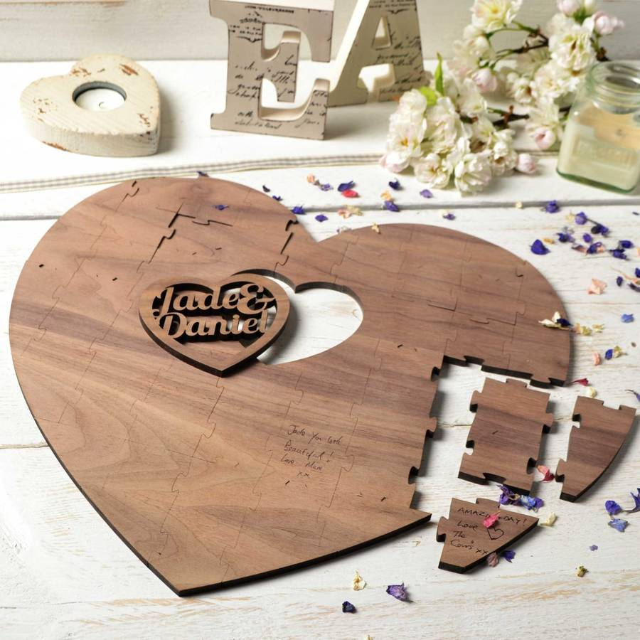 Original Wedding Guest Book Ideas: Personalised Wedding Guestbook Puzzle Two Hearts By Create