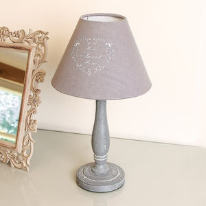 Home Sweet Home French Grey Table Lamp - bedside lamps