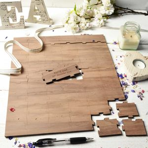Personalised Wooden Wedding Guest Puzzle Square - albums & guest books