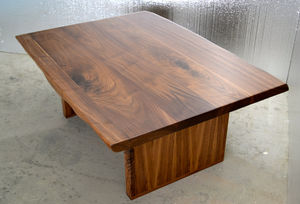 Coffee Table Solid Walnut Live Edge Detail - furniture