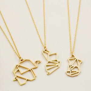 Gold Animal Pendant Necklace - personalised