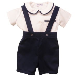 James Shirt And Romper Shorts Set 100% Cotton Navy - christeningwear