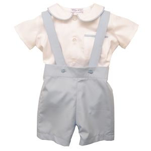 James Shirt And Romper Shorts 100% Cotton Pale Blue - christeningwear