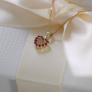 9ct Gold And Ruby Heart Necklace* - july birthstone