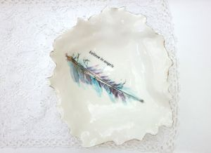Porcelain Feather Design Dish - crockery & chinaware