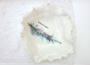 Porcelain Feather Design Dish - ceramics