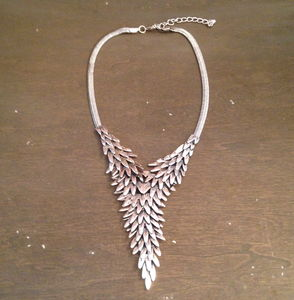 Silver Feather Wings Pointed Necklace And Earrings