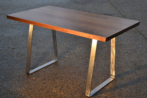 Desk Solid Black Walnut Solid Steel Trapezium Base - furniture