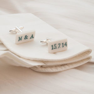 Personalised White Stamped Porcelain Cufflinks - wedding fashion