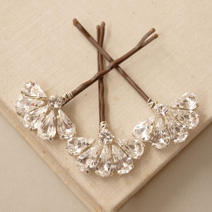 Fan Wedding Hair Pin Trio