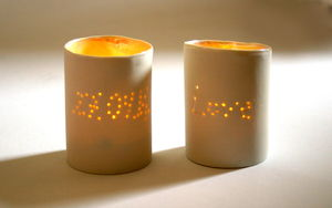 Personalised Tea Light Holder With Wedding Date - dining room