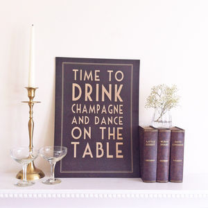 Time To Drink Champagne Art Print - room decorations