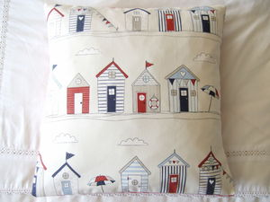 Blue And Red Beach Huts Cushion Cover