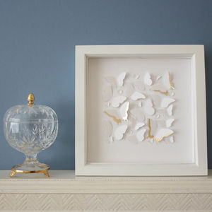 Framed Papercut Butterflies With Gold Leaf - mixed media & collage