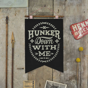 Vintage Style Wall Banner In Black - wall hangings for children