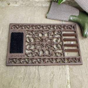 Cast Iron Doormat With Brush And Scraper - sale by category