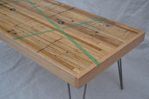 Coffee Table Reclaimed Oak W/ Green Resin Inlay - furniture
