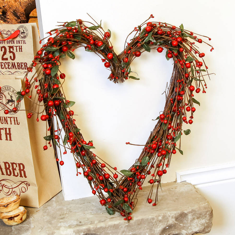 Heart berry christmas wreath by dibor notonthehighstreet