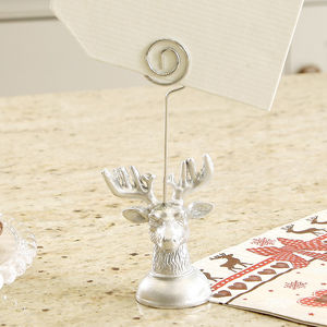 Silver Deer Head Name Place Holder - table decorations