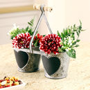 Twin Pot Planter With Heart Chalkboard