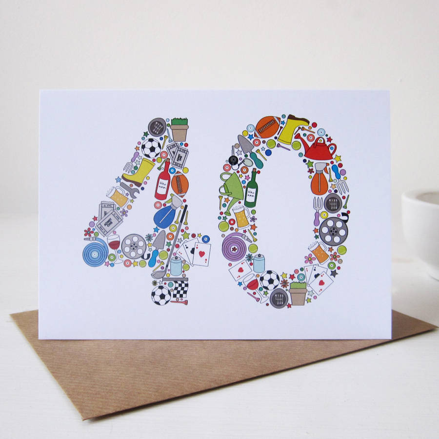 mens things 40th birthday card by mrs l cards – 40th Birthday Card Ideas