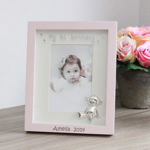 Personalised Pink 1st Birthday Frame - art & pictures