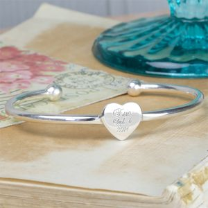 Engraved Sterling Silver Christening Bangle