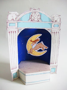 Christmas Paper Theatre With Moon Jumping Reindeer - cards & wrap
