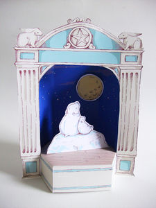 Christmas Paper Theatre With Moon Gazing Polar Bears - cards