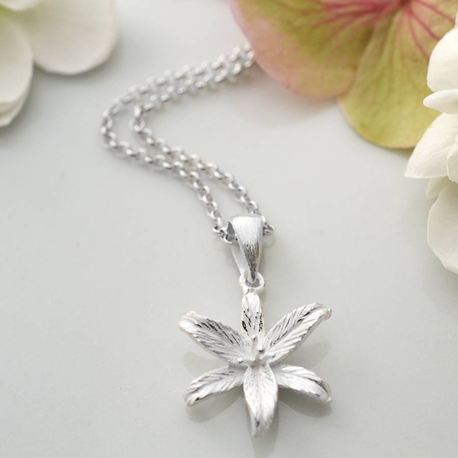 Silver Lily Flower Star Pendant By Martha Jackson Sterling