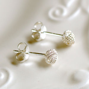 Small Sterling Silver Knot Earrings - for children