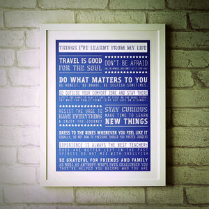 Personalised 'Things I've Learnt From My Life' Print - retirement gifts