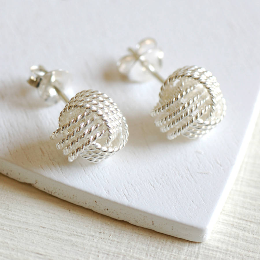 Large Sterling Silver Knot Earrings