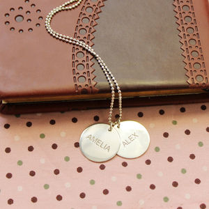 Personalised Engraved Name Discs Necklace - necklaces & pendants