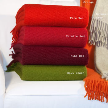 Plain Wool Throw With Fringing