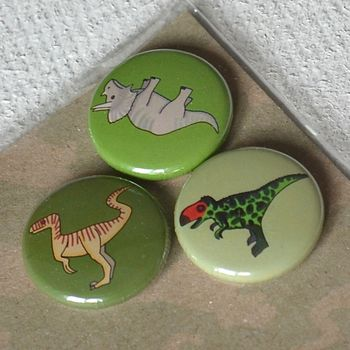 Dinosaur Badges Or Magnets Set Of Three