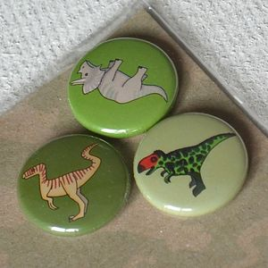 Dinosaur Badges Or Magnets Set Of Three - storage & organising