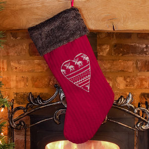 Nordic Heart Christmas Stocking - stockings & sacks