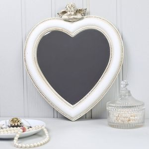 Distressed Cream Heart Cherub Mirror - mirrors
