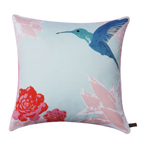 Vintage Hummingbird Cushion - winter sale