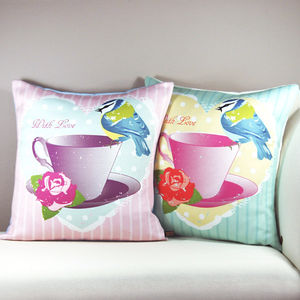Tea Cup And Bird Vintage Cushion - cushions