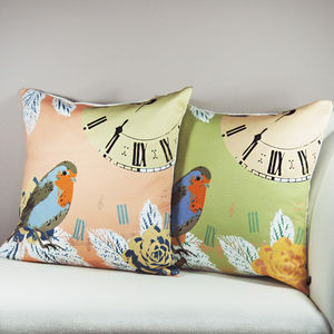 Vintage Clock With Robin Bird Cushion - cushions